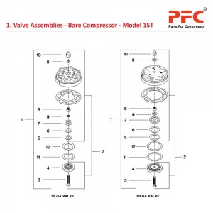 Valve Assembly - Bare Compressor IR 15T Parts