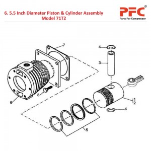 "5 1/2"" Piston & Cylinder IR 71T2 Compressor Parts"
