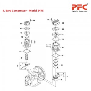 Bare Compressor IR 2475 Air Compressor Parts