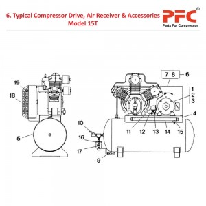 Compressor Drive, Air Receiver IR 15T Parts