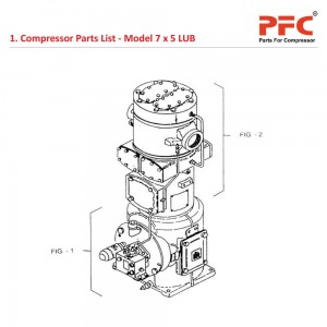 Compressor Parts List for 7 x 5 LUB